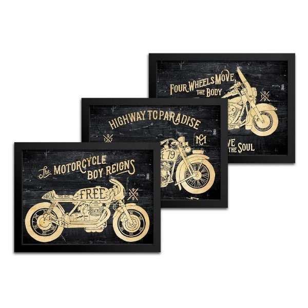 Combo 3 Quadros Moto - 18x24cm