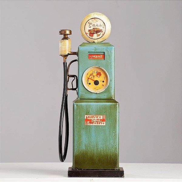 Miniatura Bomba Gasolina Antiga Metal - Azul