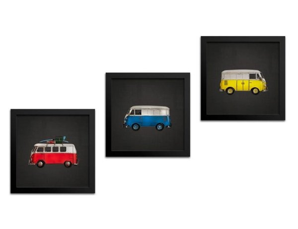 Kit Quadros Decorativos Perua Kombi