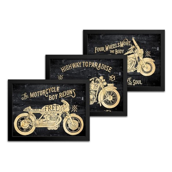 Combo 3 Quadros Moto - 23x33cm