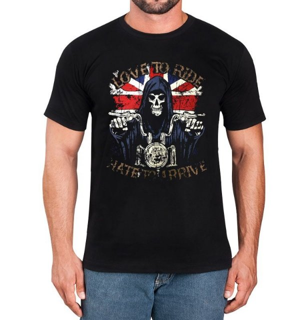 Camiseta Caveira Preta - Moto Love to Ride
