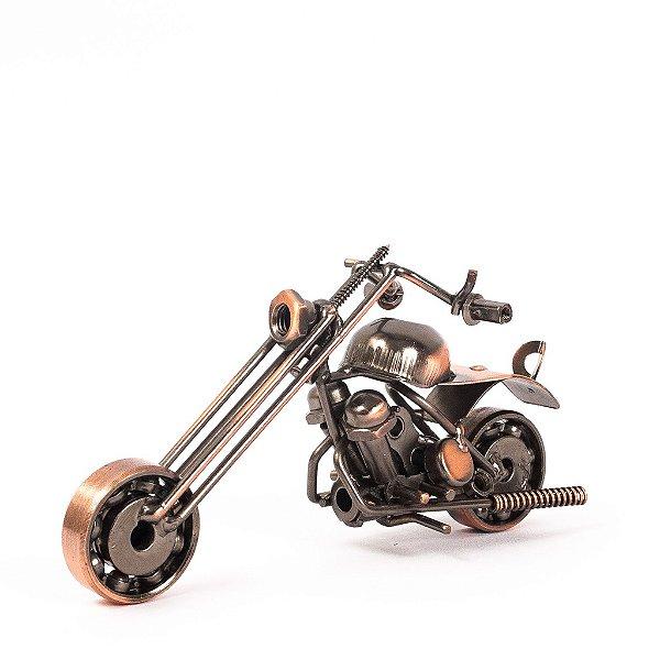 Miniatura Moto Chopper Dourada