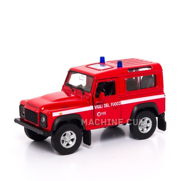 Miniatura Land Rover Defender - Bombeiro - Welly 1:34