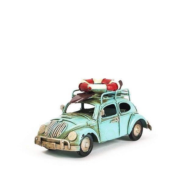 Carro de Lata - Miniatura Fusca VW - Azul