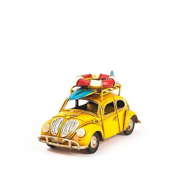 Carro de Lata - Miniatura Fusca VW - Amarelo
