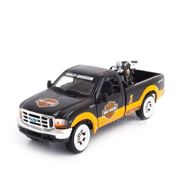 Miniatura Ford F-350 Super Duty Pick Up + Harley-Davidson EL Knuckehead 1936 - Maisto - 1:24