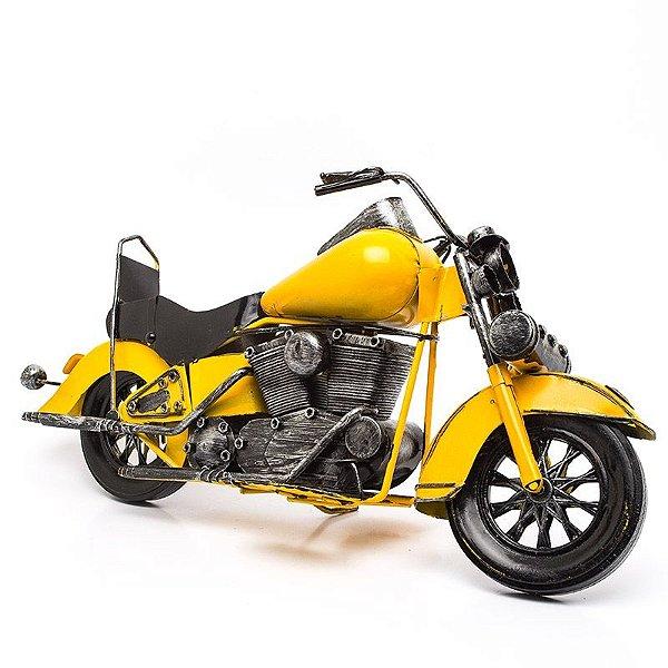 Miniatura Moto Custom Amarela