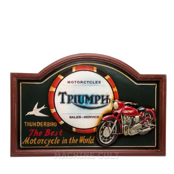 Placa Decorativa Moto Triumph - Alto Relevo