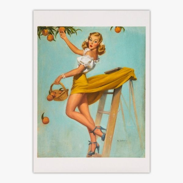 Cartão Postal Pin-Up - Picking Peaches - Robert Skemp
