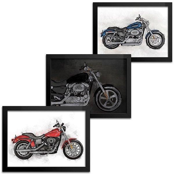 Combo 3 Quadros Motocicleta - 23x33cm