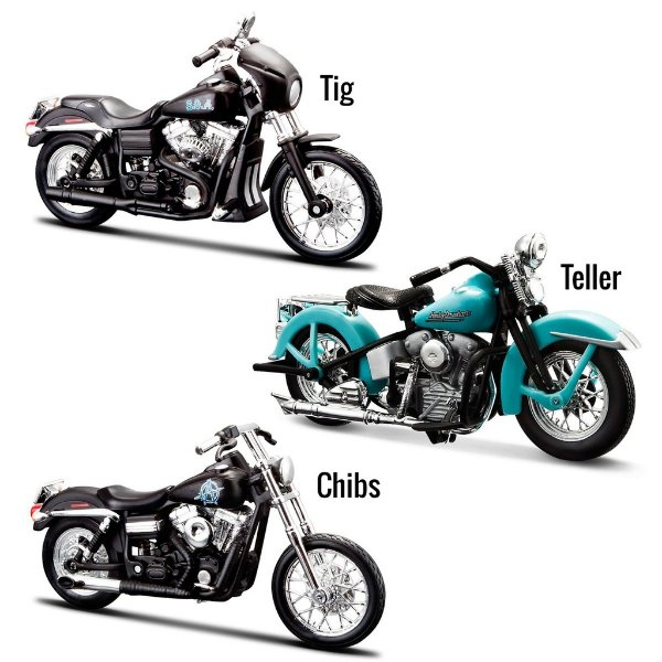 Kit Miniaturas Moto Sons of Anarchy - Teller - Chibs - Tig