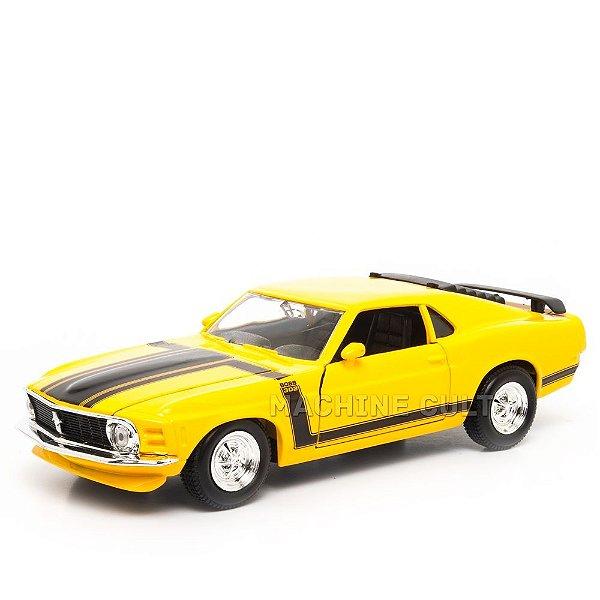 Miniatura 1970 Ford Mustang Boss 302 Amarelo - Maisto - 1:24