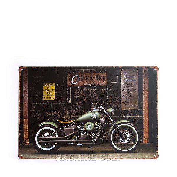 Placa em Metal Moto Militar