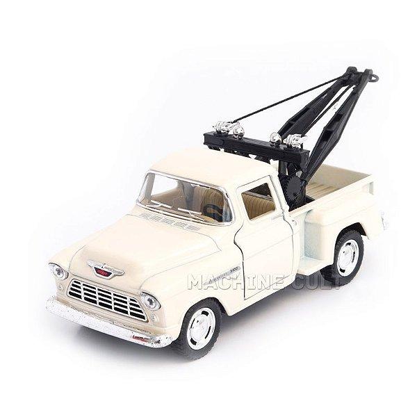 Miniatura Guincho Chevy Stepside Pickup 1955 Branco - 1:32