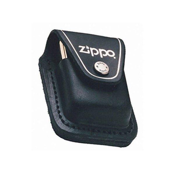 Bainha com Passante para Isqueiro Zippo em Couro Preto com Logo