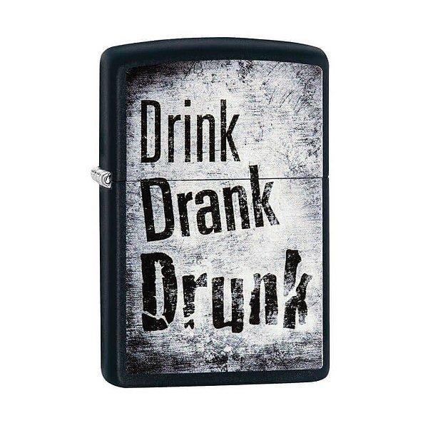 Isqueiro Zippo 29618 Classic Drink, Drank, Drunk Preto