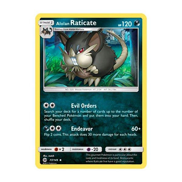 Pokémon TCG: Raticate de Alola (77/149) - SM1 Sol e Lua