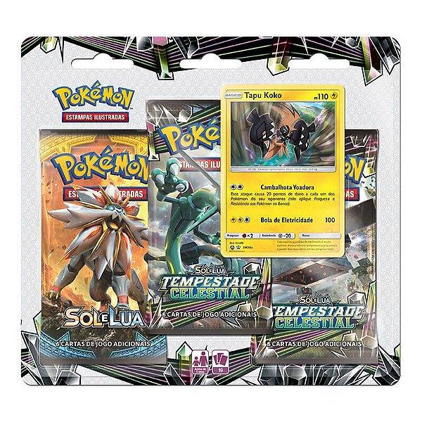 Pokémon TCG: Triple Pack SM7 Tempestade Celestial - Tapu Koko