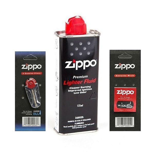 Kit Zippo, Fluido 125ml + Pedra 6 un. + Pavio