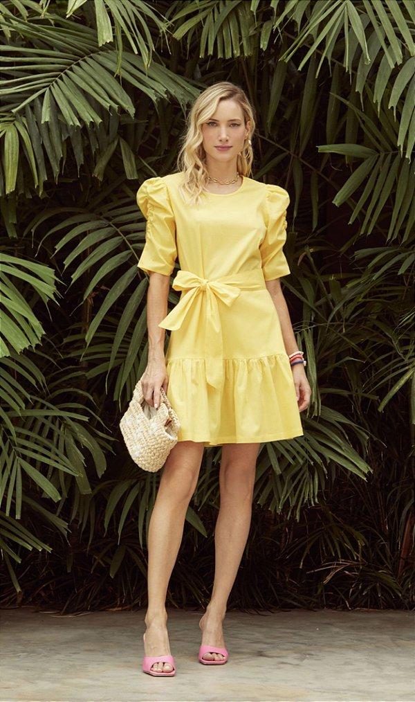 Vestido Tricoline Franzido Amarelo - DECOTE DLX