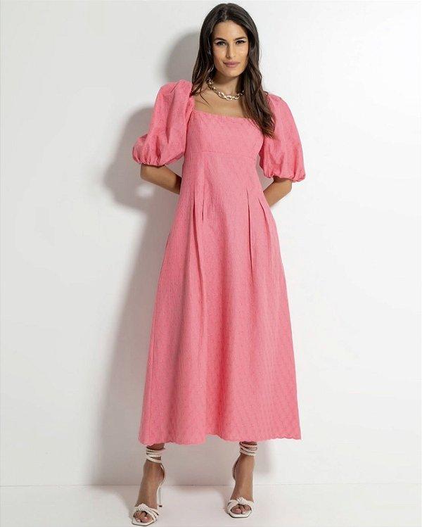 Vestido Midi Puff Rosa