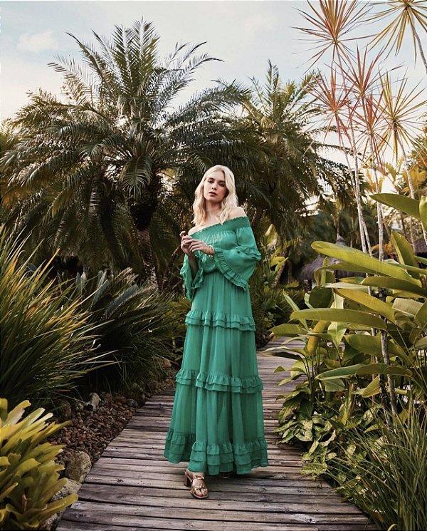 Vestido Longo Chiffon Verde Esmeralda