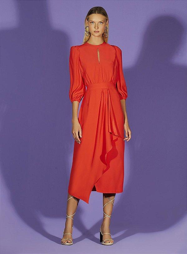 Vestido Manga Longa Babado Vermelho - TUFI DUEK