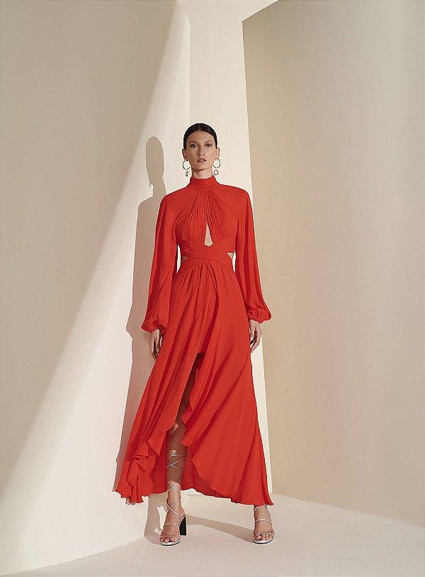 Vestido Longo Faixa Cruzada Vermelho P - TUFI DUEK