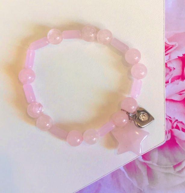 Pulseira Feminina de Pedra Natural - Quartzo Rosa