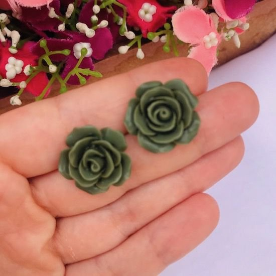 Brinco Feminino Pequeno - Rosa Verde