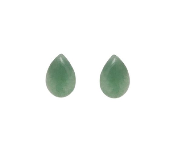 Brinco Pequeno de Pedra Natural - Quartzo Verde