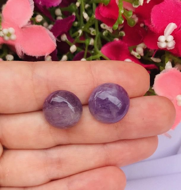 Brinco Pequeno de Pedra Natural - Ametista