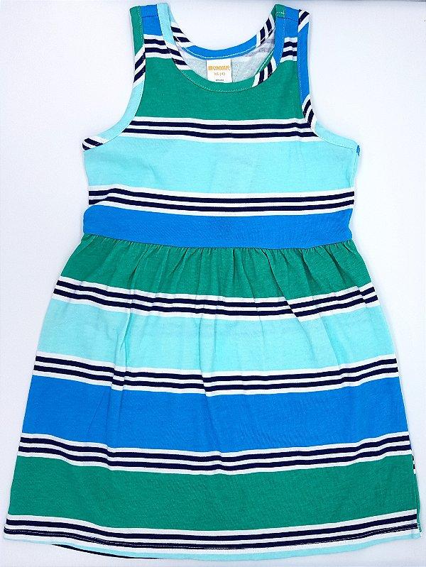 Vestido listrado verde e azul