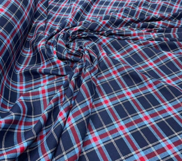 Tecido Flanela Xadrez Vermelho e Azul Marinho 1,47x1,00m para Roupas