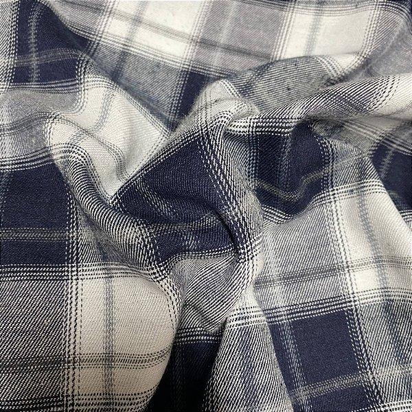 Tecido Flanela Xadrez Azul Marinho e Branco 1,47x1,50m para Roupas