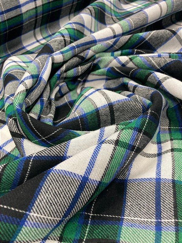 Tecido Flanela Xadrez Verde azul e branco 1,47x1,00m para Roupas