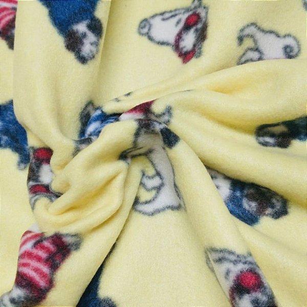 Tecido Soft 100% Poliéster Estampado Pugs 1.40x1,00m