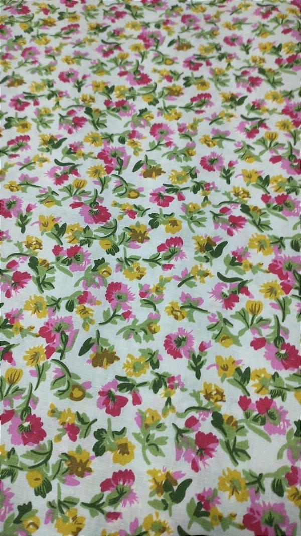Tecido Tricoline Branco Florzinhas 100% Algodão 1,40x1,00m
