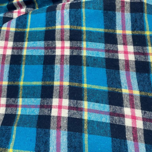 Tecido Flanela Xadrez Azul Rosa e Amarelo 1,47x1,00m para Roupas