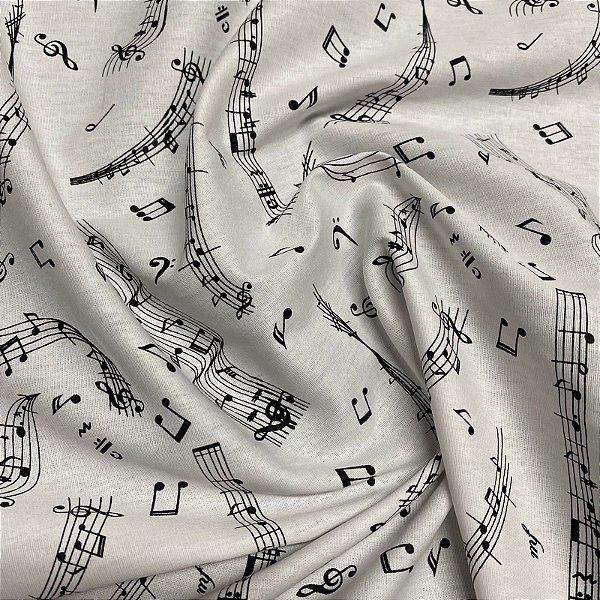 Tecido Tricoline Notas Musicais 1,40x1,00m