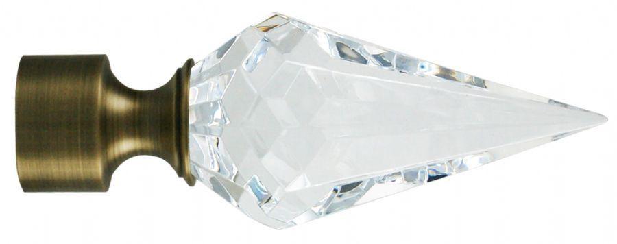 Ponteira Diamante Cristal Base Ouro Velho-28mm