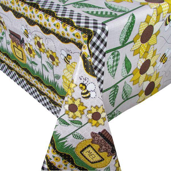 Toalha de mesa Plástica Térmica Girassol e Abelhinhas 1,40x1,40 Cozinha Decoração