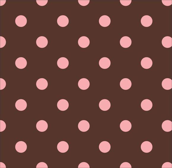 Tricoline Poá marrom e rosa