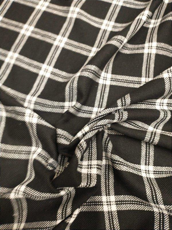 Flanela Xadrez largo preto e branco