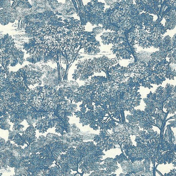 Papel De Parede Azul Vinilico Garden SZ002724