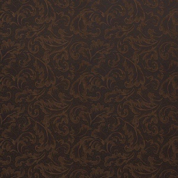 Tecido Para Sofá e Estofado Jacquad Impermeabilizado Panama 135 Arabesco Marrom Preto - Largura 1,40m - PN-135
