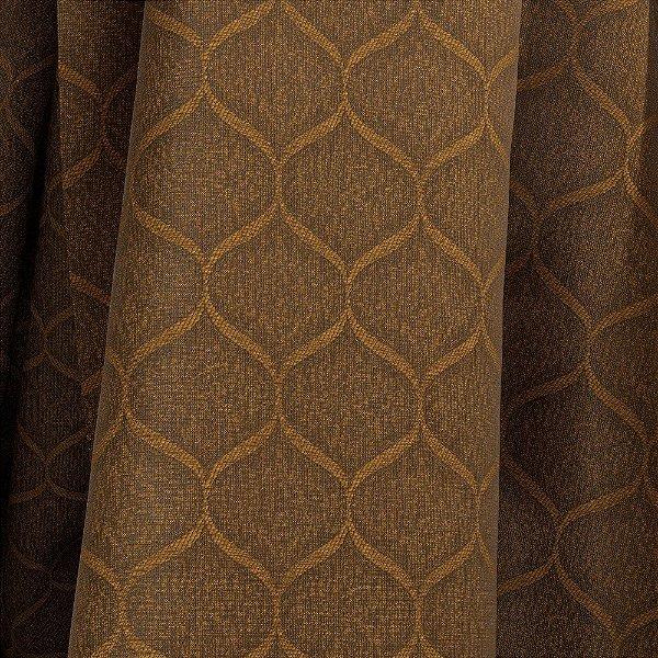 Tecido Para Sofá e Estofado Jacquad Impermeabilizado Panama 122 Geometrico Ferrugem - Largura 1,40m - PN-122