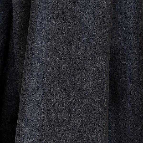 Tecido Para Sofá e Estofado Jacquad Impermeabilizado Panama 141 Flor Preto Cinza - Largura 1,40m - PN-141