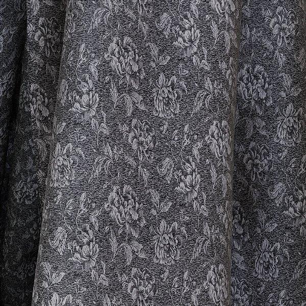Tecido Para Sofá e Estofado Jacquad Impermeabilizado Panama 137 Flor Preto Branco - Largura 1,40m - PN-137