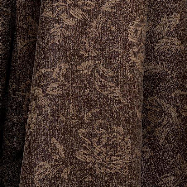 Tecido Para Sofá e Estofado Jacquad Impermeabilizado Panama 117 Flor Marrom - Largura 1,40m - PN-117